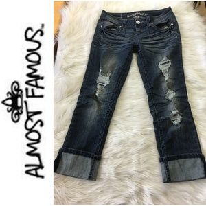 Almost Famous Distressed Embellish Cuffed Jeans